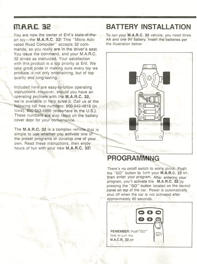 MARC 32 Camaro - Ertl (1986) INSTRUCTIONS